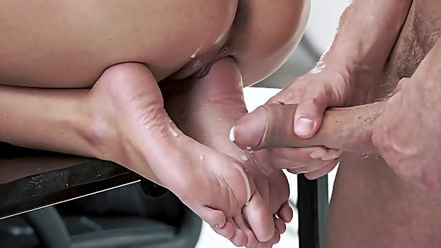 Asian Feet Cumshot - Cum on feet videos